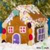 decorated gluten free gingerbread house with candies