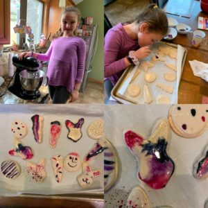 child making watercolor cookies